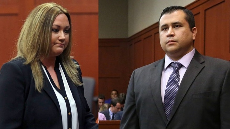 Shellie and George Zimmerman pictured on two different occasions in court.