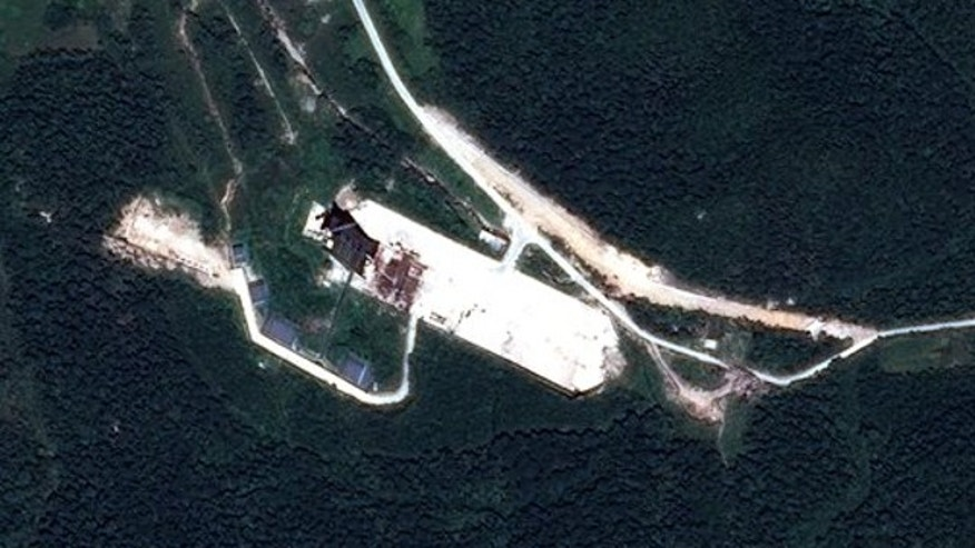 Aug. 25, 2013: This satellite image provided by Astrium via 38 North shows new construction at the North Korean launch site of Sohae, near the northern border with China.