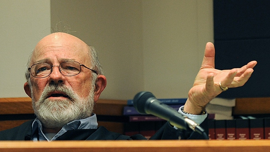 District Judge G. Todd Baugh presiding at a hearing in Great Falls, Mont.