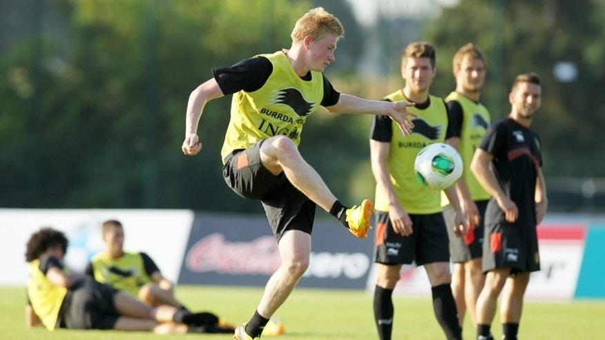 Kevin De Bruyne attends a training session of the Belgian national team, the Red Devils, in Brussels, on September 4, 2013, ahead of their 2014 FIFA World Cup qualification match against Scotland, taking place on September 6 in Glasgow.