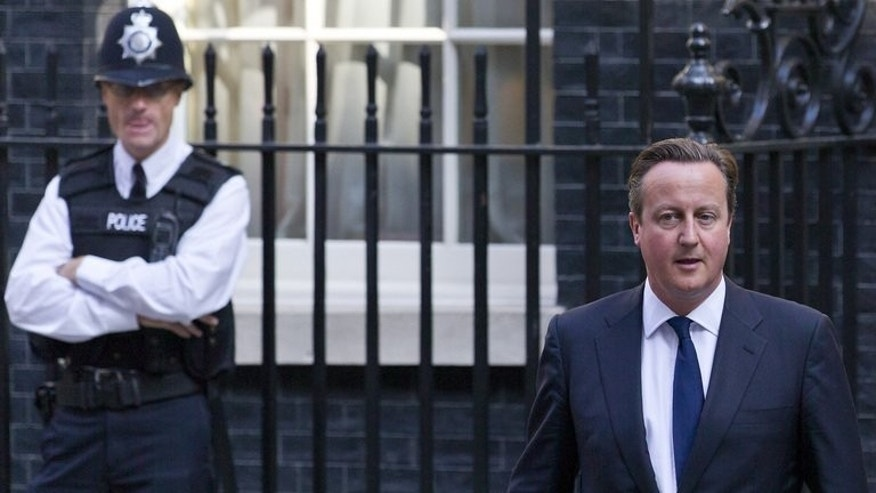 Prime Minister David Cameron leaves 10 Downing Street on September 4, 2013 for parliament. Cameron will push the EU to curb migrants' access to British welfare payments during talks ahead of the country's membership referendum, he told the Times on Friday.