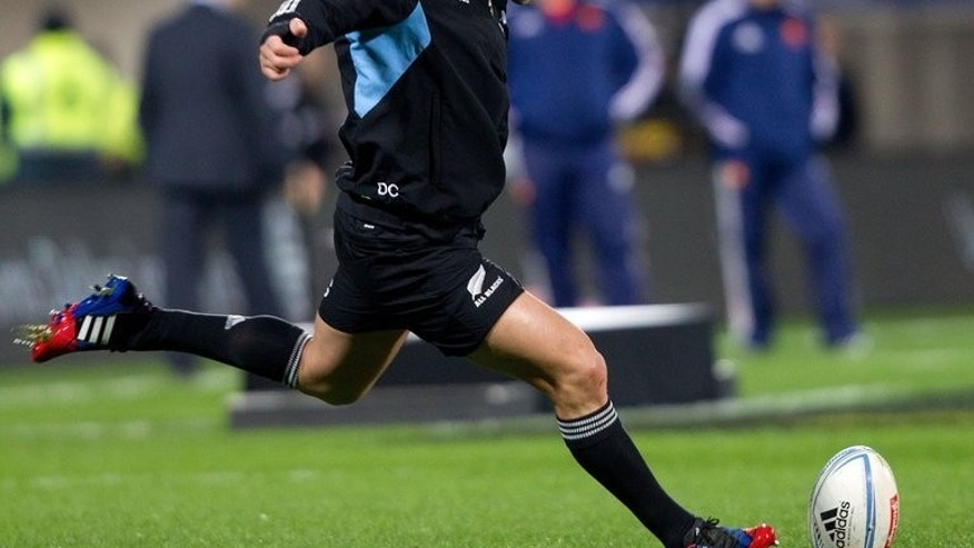 Dan Carter of New Zealand practices kicking before a rugby union Test match in New Plymouth, on June 22, 2013. Carter goes into Saturday's Rugby Championship Test against Argentina anointed as the top flyhalf in rugby history yet under growing pressure to hold down his place.