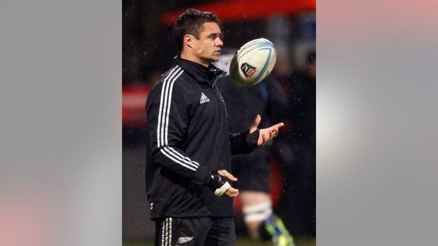 Dan Carter of New Zealand sits out the match injured during a rugby Test match between New Zealand and France, at AMI stadium in Christchurch, on June 15, 2013. The world's leading points scorer returns to the All Blacks after another injury-plagued year in which he has missed four of five Tests played and allowed the chasing pack of flyhalves to grow in confidence.