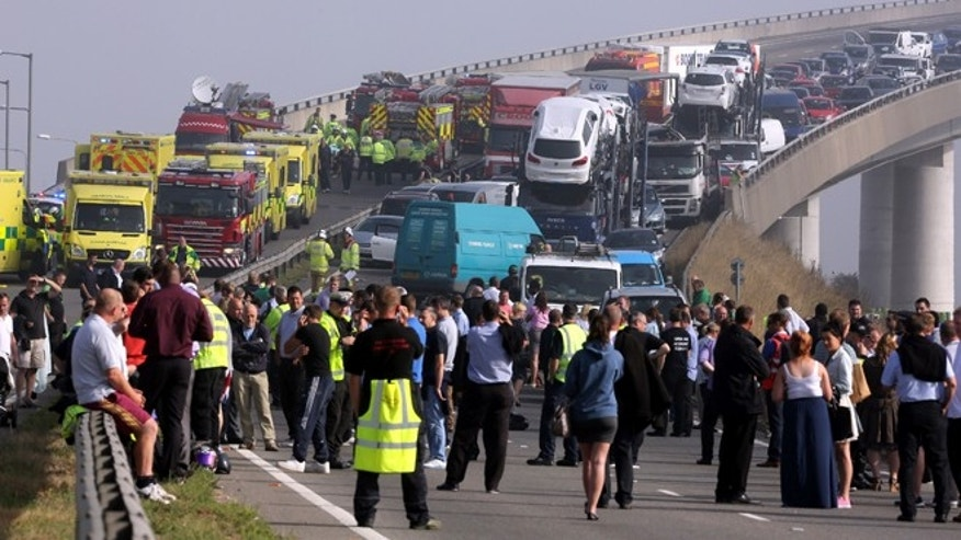 Sept. 5, 2013: A general view of the scene on the London bound carriageway of the Sheppey Bridge Crossing near Sheerness in Kent, south England, following a multi vehicle collision earlier this morning.