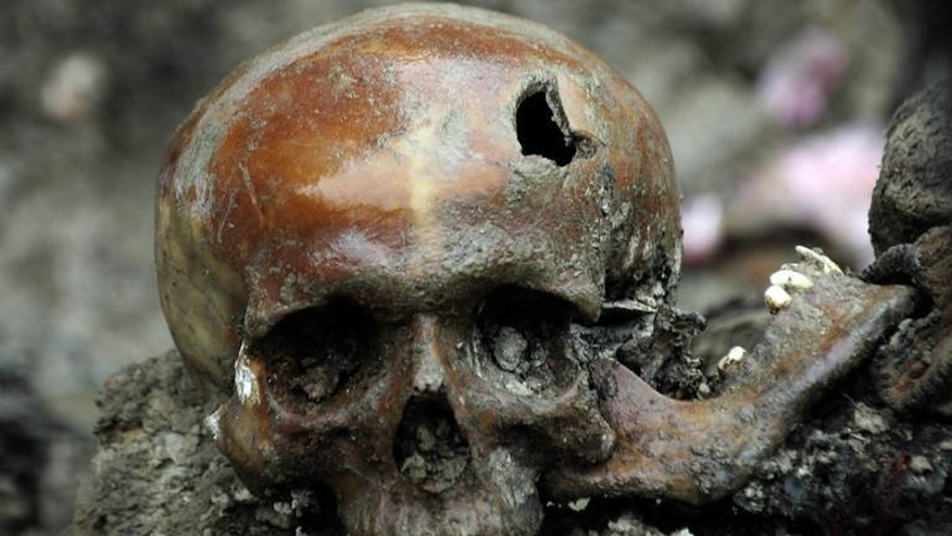 A broken skull lays exhumed in a newly discovered mass grave near the Bosnian town of Srebrenica, on July 11, 2007. The Dutch state is responsible for sending three Bosnian Muslims to their deaths when they were expelled from a UN compound at Srebrenica in 1995, according to the Dutch supreme court.
