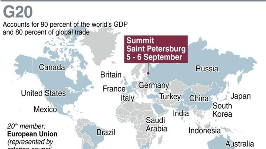 Graphic showing the G20 member nations