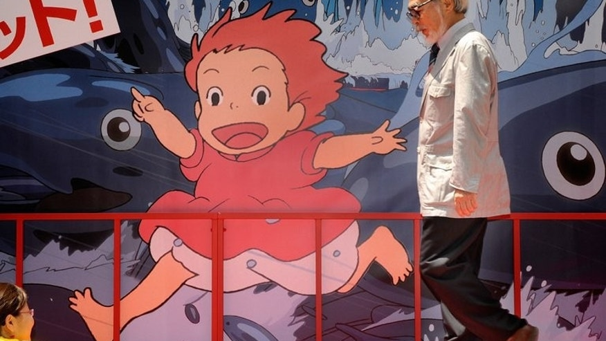 "Hayao Miyazaki promotes his movie ""Ponyo on the Cliff by the Sea"" in Tokyo on July 19, 2008. The Oscar-winning Japanese animator says he is retiring from feature-length movies because he can no longer maintain the pace."