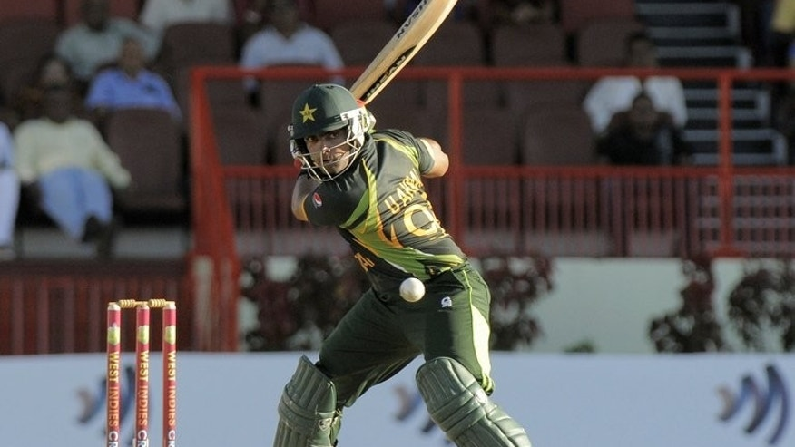 Umar Akmal plays a stroke against West Indies in a one day match in Georgetown on July 16. Pakistan on Friday said the young batsman was fit to play after undergoing medical tests following a seizure last month.