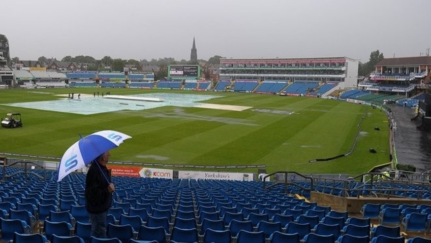 The watery scene at Headingley cricket ground on Friday morning. Heavy and persistent rain delayed the toss and start of the first one-day international between England and Australia in Leeds, northern England on Friday.