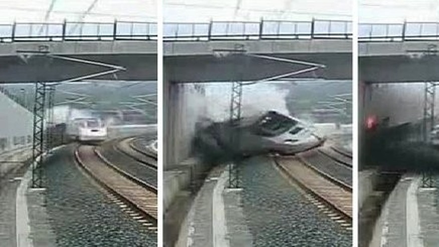 A combination of 4 grabs from a security video camera shows a train derailing four kilometres from Santiago de Compostela on July 24, 2013. The driver of a Spanish train that flew off the rails and killed 79 people admitted speeding but complained bitterly about a dangerous curve as he lay trapped in his cabin, a new recording reveals.