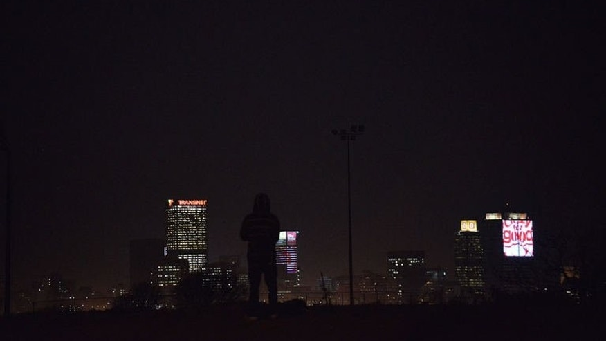 A road overlooking the South African capital on September 5, 2013. Large parts of Johannesburg are without electricity due to a strike that could see blackouts until the weekend.