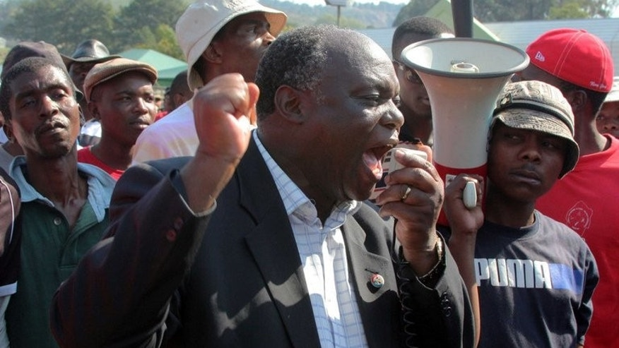 Opposition leader Mario Masuku addresses a crowd of protesters in Mbabane on Sepetember 9, 2011.