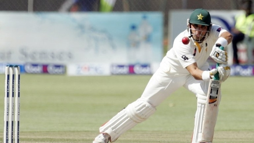 Younis Khan plays a stroke at Harare Sports Club on Wednesday in the first Test against Zimbabwe. Younis Khan completed his 22nd Test century on Thursday as Pakistan overcame the loss of a wicket in the first over of the fourth day.