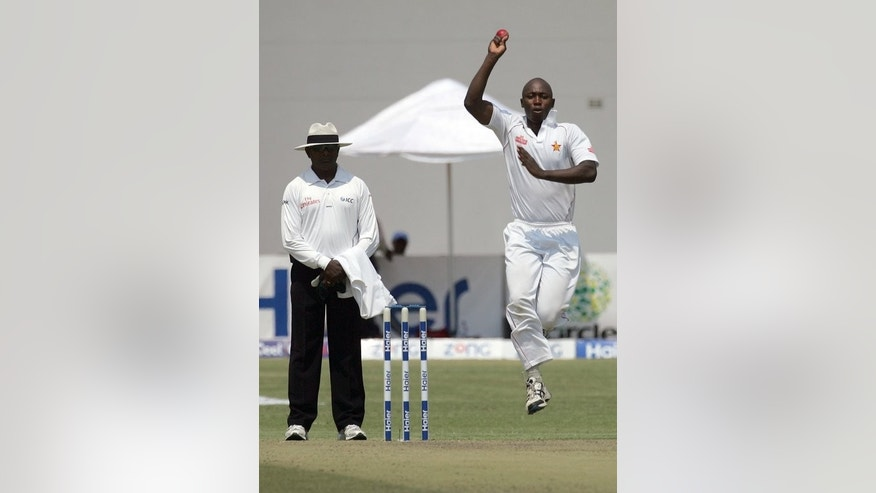 Tendai Chatara makes a delivery at Harare Sports Club on Tuesday in the first Test against Pakistan. Chatara bowled overnight batsman Asad Shafiq with the fifth ball of the day on Friday with one run added to the overnight score of 168 for four.