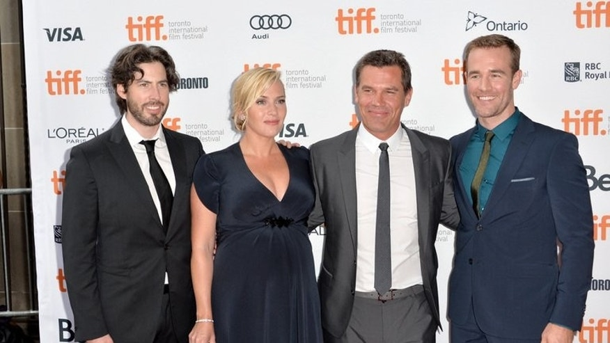 "L-R: Director Jason Reitman with actors Kate Winslet, Josh Brolin and James Van Der Beek at the ""Labor Day"" premiere during the 2013 Toronto International Film Festival at Ryerson Theatre on September 7, 2013 in Toronto, Canada."