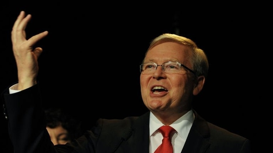 Australian Prime Minister Kevin Rudd concedes defeat while speaking at a Labor party function in Brisbane on September 7, 2013.