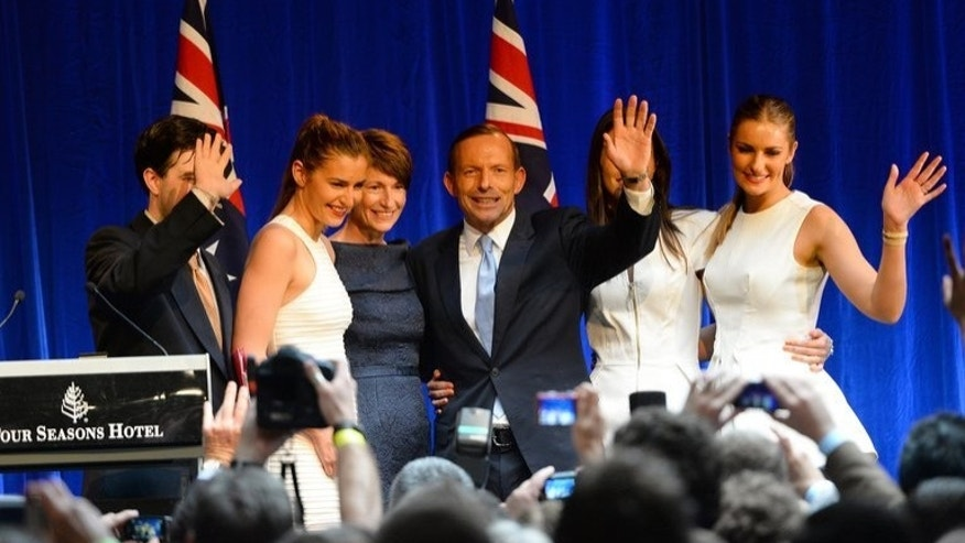 Australian Prime Minister-elect, Tony Abbott with his wife Margie and daughters Frances, Louise and Bridget on September 7, 2013. He said he had been preparing for the top job 'my whole life'.