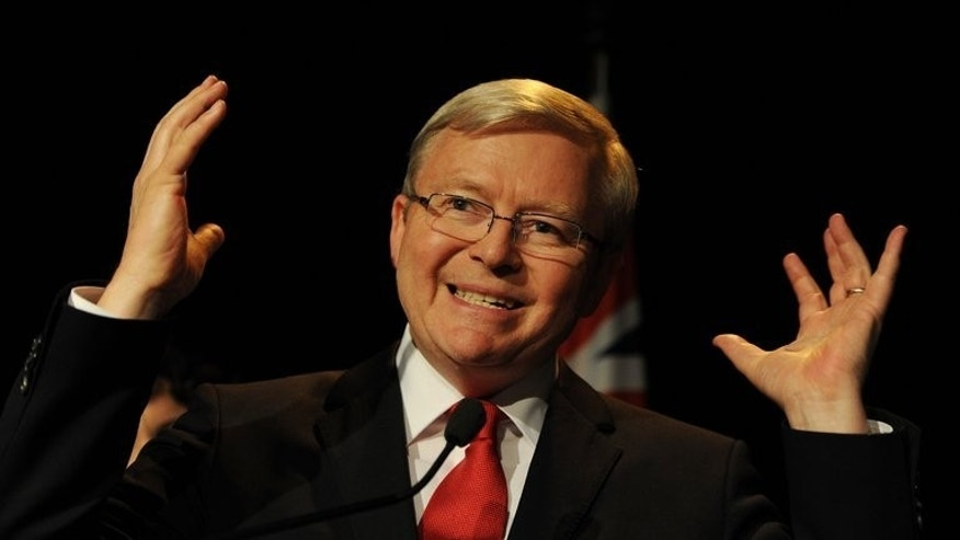 Australian Prime Minister Kevin Rudd concedes defeat as he speaks at a Labor party function in Brisbane, on September 7, 2013. Rudd has announced he will step down as Labor leader after a heavy defeat to the conservatives in national elections Saturday following years of leadership ructions.