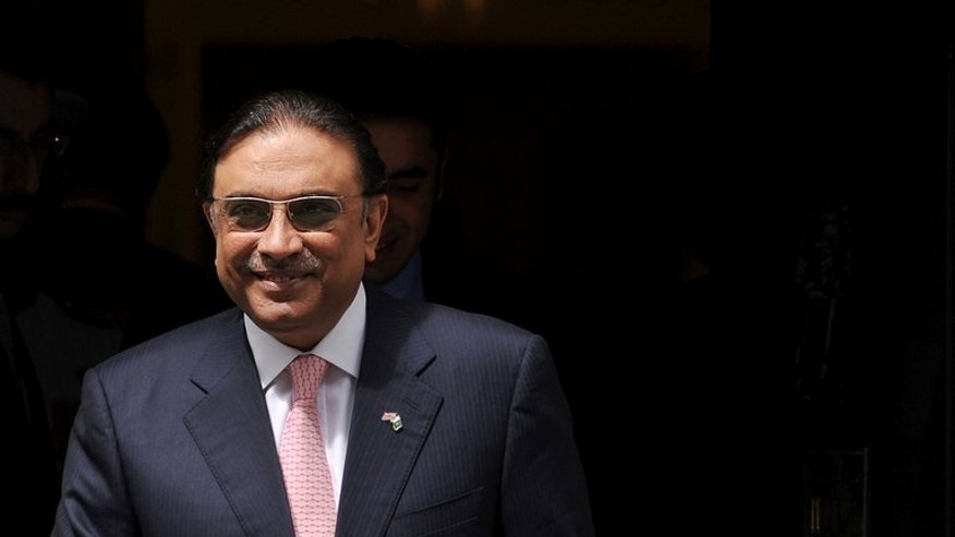 Pakistani President Asif Ali Zardari, pictured July 1, 2011, at Downing Street in London. Zardari steps down after five years in power but has been criticised for the state of the country's security and its economy.
