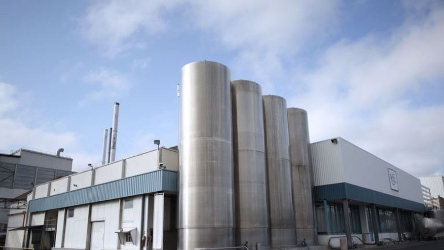 View of the Isigny Sainte-Mere milk-processing plant in the northwestern French town of Isigny-sur-Mer, on July 4, 2013. Companies in China, whose tainted milk powder scandal in 2008 left six dead and more than 300,000 sick, are vaunting tie-ups with French dairies to shore up their image but some fear this could backfire for Paris.
