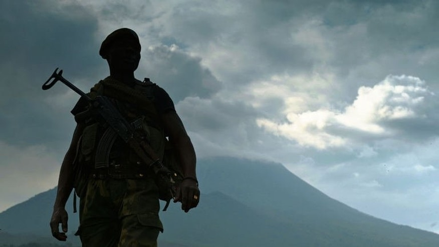 A soldier from the Democratic Republic of Congo regular army (FARDC) stands guard in Kibati near Goma on September 4, 2013.