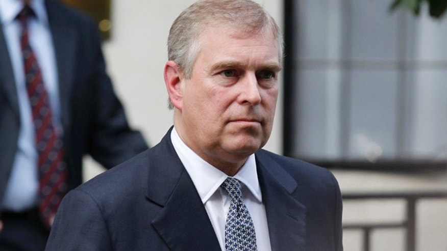 June 6, 2012: In this file photo, Britain's Prince Andrew leaves King Edward VII hospital in London after visiting his father Prince Philip.