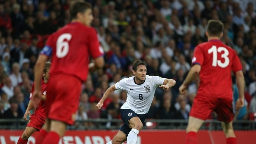 England's Frank Lampard (C) during the World Cup qualifier against Moldova at Wembley Stadium on September 6, 2013. Lampard admits he will feel a sense of vindication if he wins his 100th cap in England's crucial World Cup qualifier against Ukraine on Tuesday.