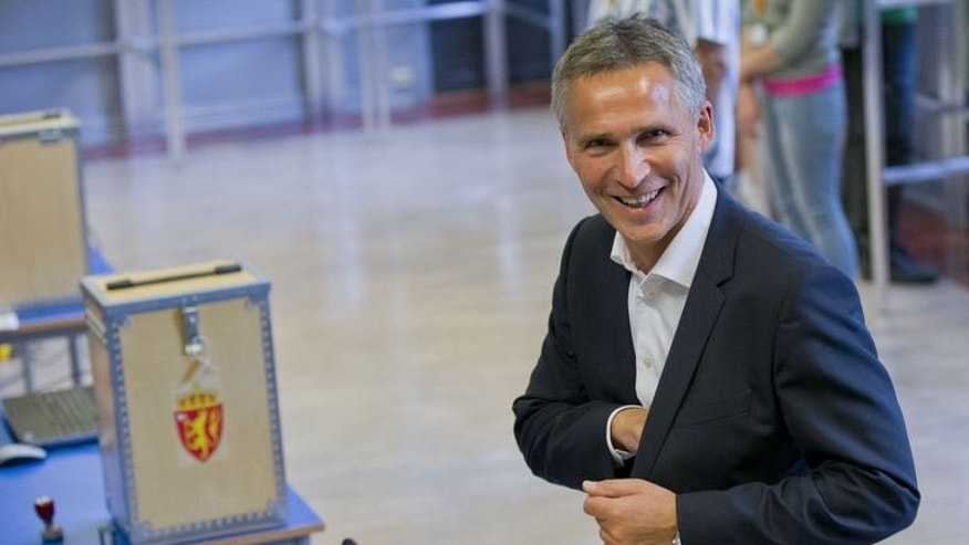 Norway's Prime Minister Jens Stoltenberg smiles after casting his ballot in the parliamentary election at a polling station in Oslo, on September 8, 2013. Norway's centre-right opposition looks set to oust Stoltenberg in Monday's general election, paving the way for an anti-immigration party to enter government two years after right-wing extremist Anders Behring Breivik's deadly attacks.