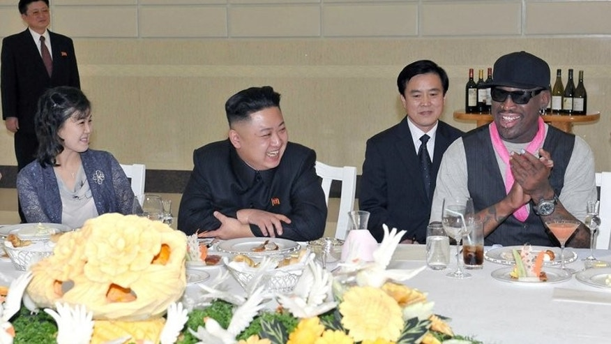 Kim Jong-Un, his wife Ri Sol-Ju and former NBA star Dennis Rodman during a dinner in Pyongyang on February 28, 2013. Rodman told the Guardian newspaper that Kim's daughter was named Ju-Ae.
