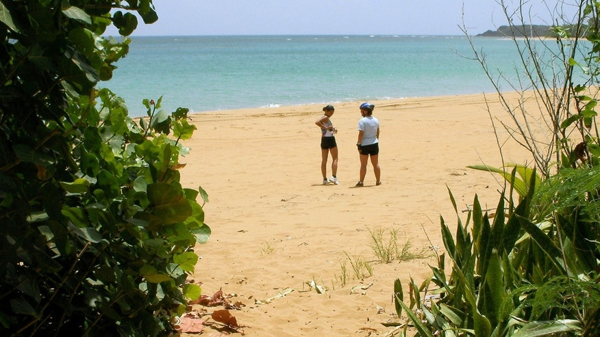 In this June 28, 2008 file photo, cyclists stand on a beach in the Northeast Ecological Corridor Reserve in the municipality of Luquillo in Puerto Rico. (AP Photo/Ricardo Arduengo, File)