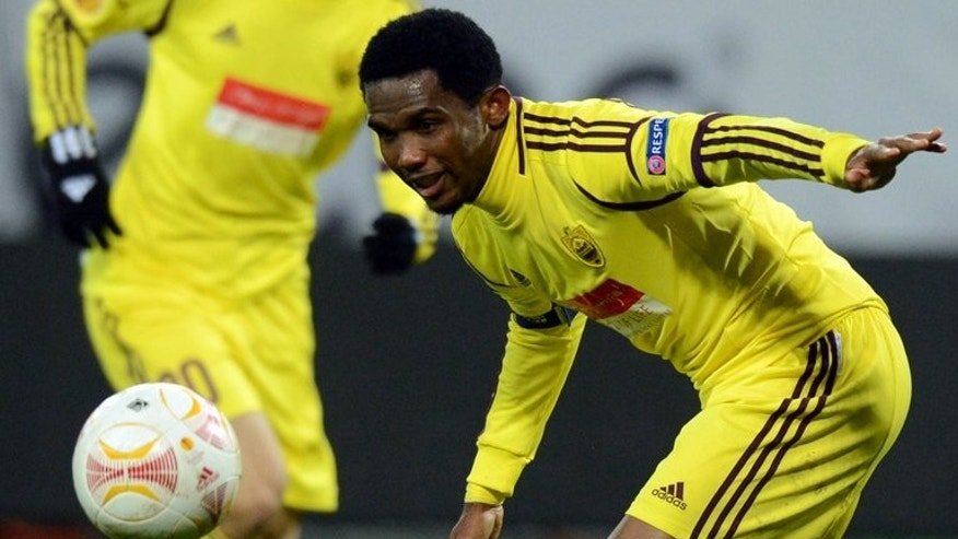 Anzhi Makhachkala and Cameroon player Samuel Eto'o controls the ball during a match against Liverpool in Moscow on November 8, 2012. Eto'o has told Cameroon team-mates he is quitting the national team ahead of World Cup qualifying play-offs.