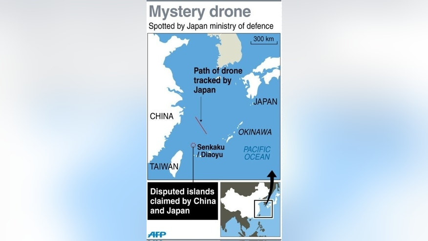 Graphic map showing disputed islands between China and Japan, near to the area where the Japanese defence ministry spotted an unidentified drone and scrambled jets in response Monday.