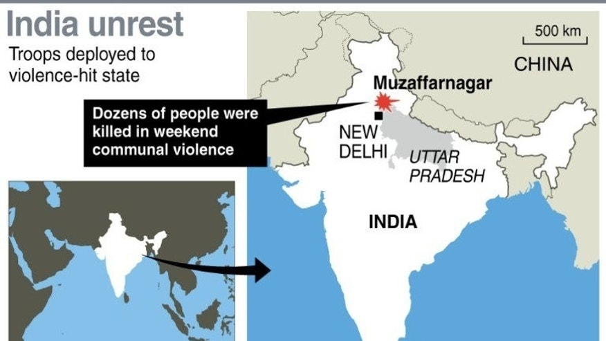Graphic map showing Muzaffarnagar district in India where hundreds of troops have been deployed after at least 23 people were killed in a weekend of communal violence.