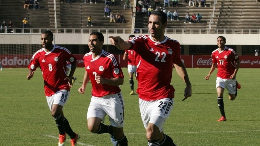 Mohammed Aboutrika celebrates a goal against Zimbabwe in Harare on June 9. Egypt's national team has long cemented a sense of national unity, bringing together even the fiercest of rivals -- fans of Cairo's top football clubs Al-Ahly and Zamalek.