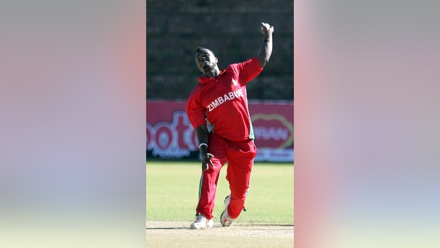 Brian Vitori bowls against Bangladesh in Bulawayo on May 8. Vitori replaced Shingi Masakadza in the Zimbabwe team for the second test against Pakistan that began in Harare on Tuesday.