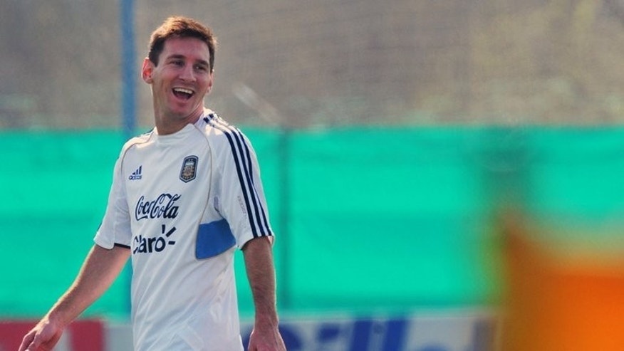 Argentina's national football team forward Lionel Messi attends a training session in Ezeiza, Buenos Aires, on September 6, 2013.