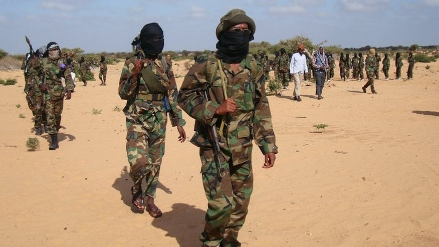 Shebab rebels fighters gather in the Somali town of Elasha Biyaha, on February 13, 2012. Shebab insurgents have returned to Twitter after their account was shut last week for a second time this year.