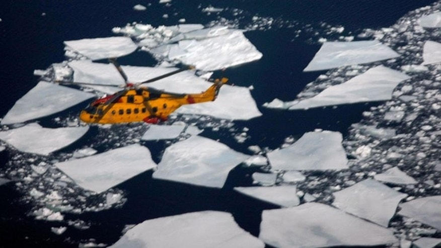A Canadian Coast Guard search and rescue helicopter is seen on March 29, 2008 in the Gulf of Saint Lawrence.