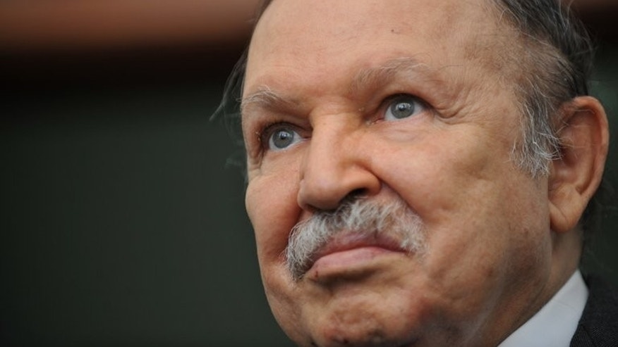 File picture shows Algerian President Abdelaziz Bouteflika during a press conference at the Presidential Palace in Algiers on May 25, 2010.