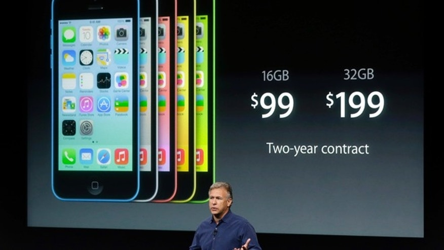 Phil Schiller, Apple's senior vice president of worldwide product marketing, during the introduction of the new iPhone 5c in Cupertino, Calif., Tuesday, Sept. 10, 2013.