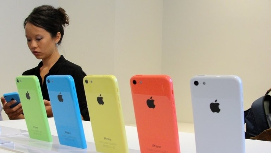 The new iPhone 5C pictured at Apple's headquarters in Silicon Valley on September 10, 2013. The handset is part of the US firm's bid to counter cheaper handsets from rivals, particularly in China.