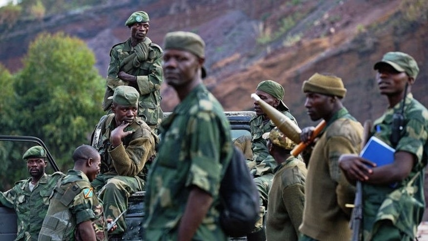 Democratic Republic of Congo (FARDC) soldiers deployed near Kibati on September 4, 2013.