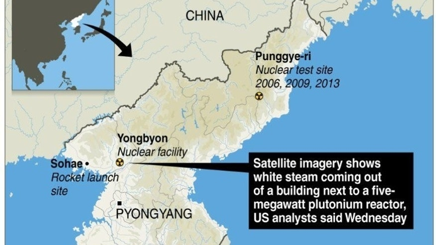 "Graphic map locating North Korea's Yongbyon nuclear facility. Satellite imagery shows that Pyongyang ""appear to have put the Yongbyon reactor into operation"", a US research institute said."