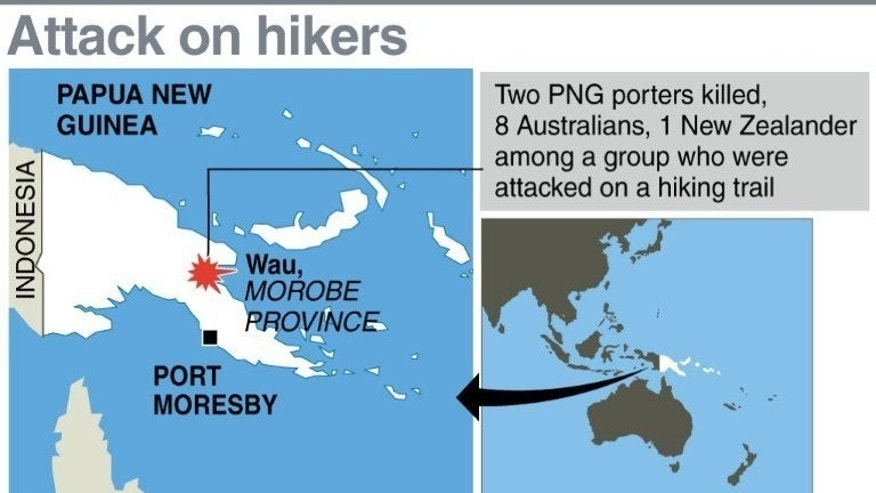 Graphic map showing Morobe province in Papua New Guinea where a group of Australians and New Zealand treckers were attacked with two of their PNG guides hacked to death, officials said Wednesday.