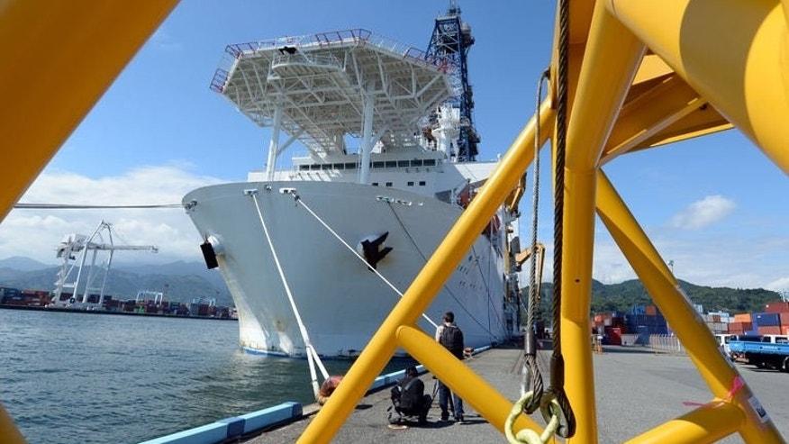 Japan's deep-sea drilling vessel Chikyu is anchored at Shimizu port, Shizuoka prefecture on September 11, 2013. A Japan-led team of seismologists set off Friday on a mission to drill deep beneath the seabed in a search for the origin of earthquakes.