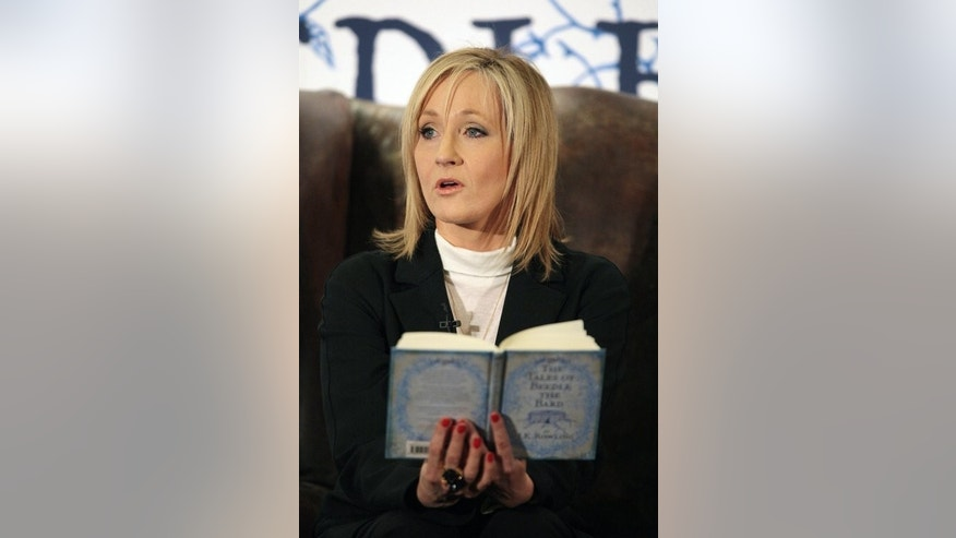 "JK Rowling reads from her book 'The Tales of Beedle The Bard' at Edinburgh's Parliament Hall in 2008. The first film planned by Rowling will be called ""Fantastic Beasts and Where to Find Them"" and will be based on a textbook of the same name used by Harry Potter and his classmates at their school Hogwarts, Rowling said on her Facebook page."