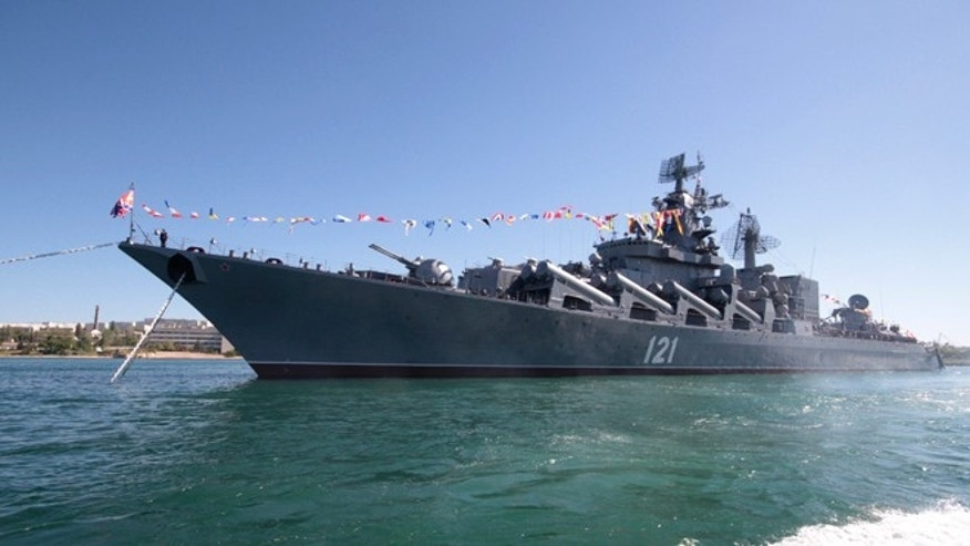 Russian missile cruiser Moskva is moored in the Ukrainian Black Sea port of Sevastopol in this May 10, 2013 file photo.
