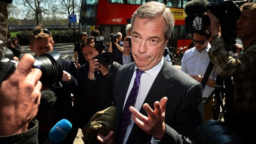 "UK Independent Party (UKIP) leader Nigel Farage addresses the media in London on May 3, 2013. Senior UK Independence Party (UKIP) MEP Mike Nattrass quit the party on Thursday, accusing Farage of running a ""totalitarian"" regime."