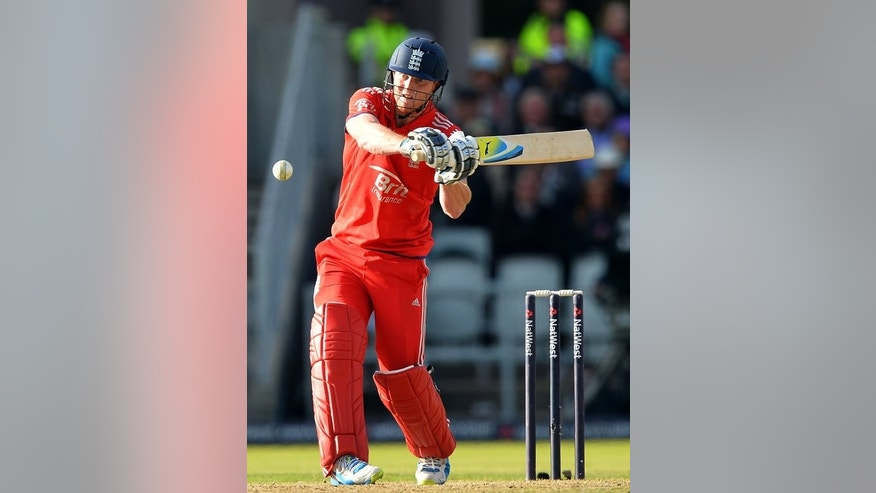 England's Ben Stokes plays a shot during the second ODI against Australia at Old Trafford in Manchester on September 8, 2013. Andrew Strauss believes the experience of playing alongside Kevin Pietersen can benefit the likes of 22-year-old Stokes.