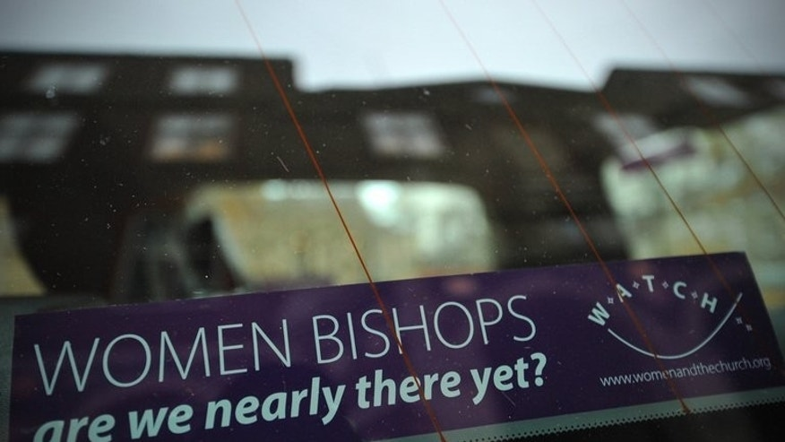 A car sticker advocating female bishops pictured outside Church House in central London on November 19, 2012.